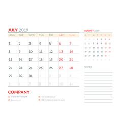 July 2019 week starts on monday calendar planner vector