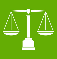 justice scale icon green vector image