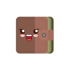Kawaii wallet icon vector