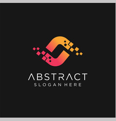 logo abstract s letter pixel multiply colorful vector image
