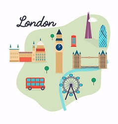 London Travel map and landscape of buildings and vector