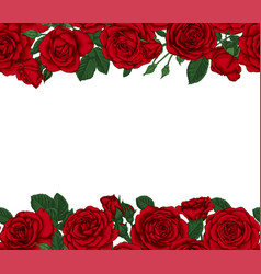 luxury wedding invitation card with red roses vector image