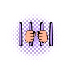Man behind jail bars icon comics style vector
