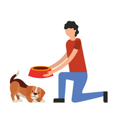 Man giving food her dog vector