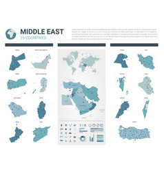 Maps set high detailed 15 maps middle east vector
