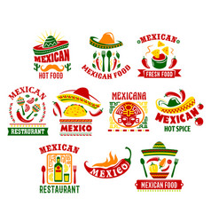mexican cuisine fast food restaurant sign design vector image