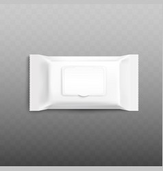 mockup white wet wipes blank package with flap vector image