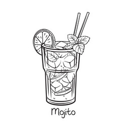 Mojito cocktail with mint leaves vector