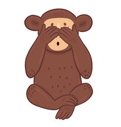 Monkey closed her eyes with her paws isolated vector