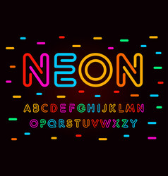 neon letters numbers and symbols set colored vector image