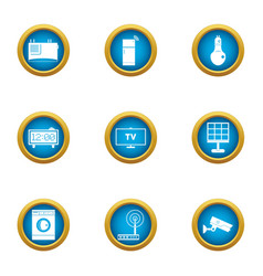 Observed house icons set flat style vector