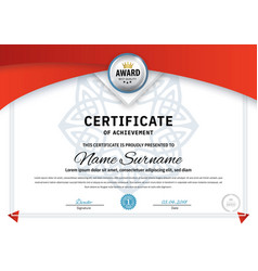 Official white certificate with red design vector