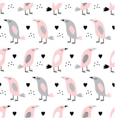 pattern with birds in scandinavian style vector image