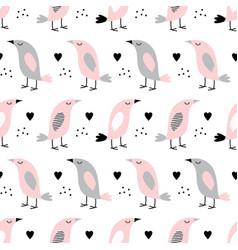 pattern with birds in scandinavian vector image