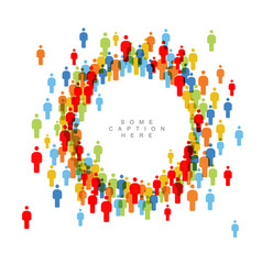 People crowd circle frame template vector