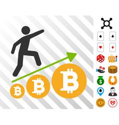 person climb growing bitcoin icon with bonus vector image