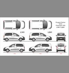 Peugeot partner passenger van l1h1 and l2h1 2016 vector