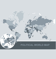 political map world editable vector image