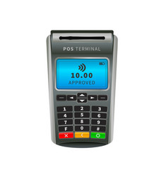 realistic nfc pos terminal for payment by debit vector image