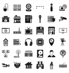 Safe camera icons set simple style vector