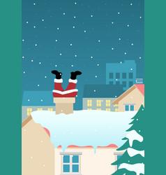 santa claus stuck on chimney vector image