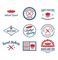 set bakery and bread logos labels badges or vector image