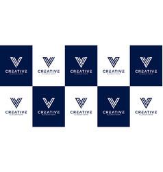 set initial letter v logo design template vector image