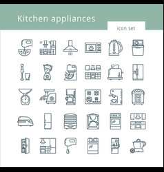 set of clean icons featuring various kitchen vector image