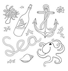 Set sea elements for design vector