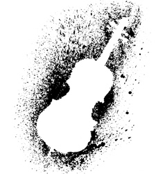 Silhouette of cello with grunge black splashes vector