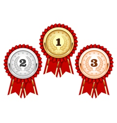 Silver bronze and golden medals - award rosette vector