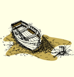 sketch drawing boat on ground vector image