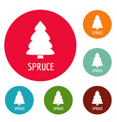 spruce tree icons circle set vector image