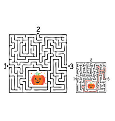 square halloween maze labyrinth game for kids vector image