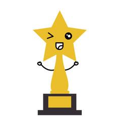Star trophy award kawaii character vector