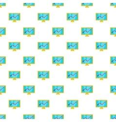 Statistics on monitor pattern cartoon style vector image