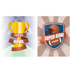 Superbowl sport poster with shield and trophy vector