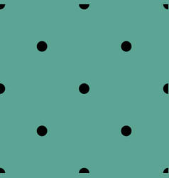 Tile pattern with black polka dots on mint green vector