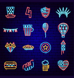 usa independence day neon icons vector image