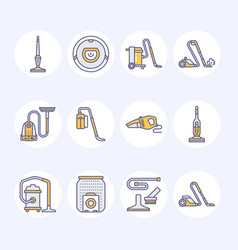 Vacuum cleaners colored flat line icons different vector