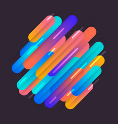 Various colored rounded shapes lines in diagonal vector