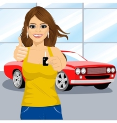 woman holding the key and showing thumbs up vector image
