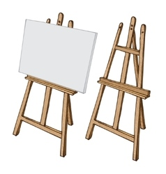 Wooden easel and canvas vector image