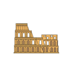 Yellow colosseum icon - famous landmark from rome vector