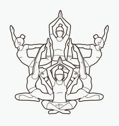 Yoga class group of women practice vector