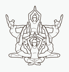 yoga class group of women practice yoga vector image