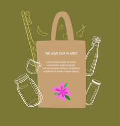 zero waste and eco friendly lifestyle hand vector image