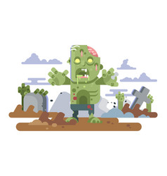 zombies in cemetery night vector image