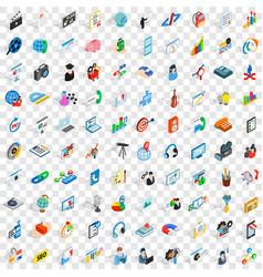 100 training icons set isometric 3d style vector image