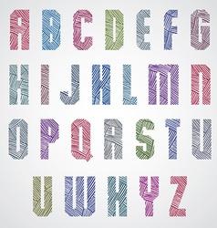 Geometric shape bold poster color letters font vector image